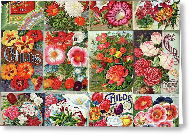 Vintage Childs Nursery Flower Seed Packets Mosaic  Greeting Card