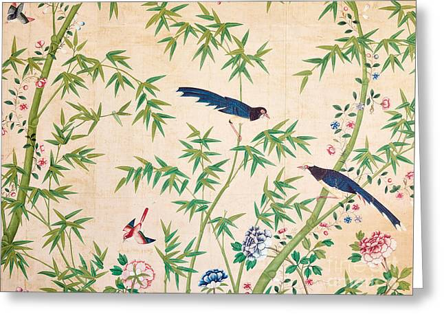Vintage Chinese Wallpaper Design Greeting Card