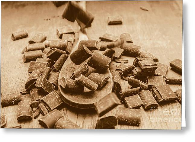 Vintage Chocolate Drops Greeting Card by Jorgo Photography - Wall Art Gallery