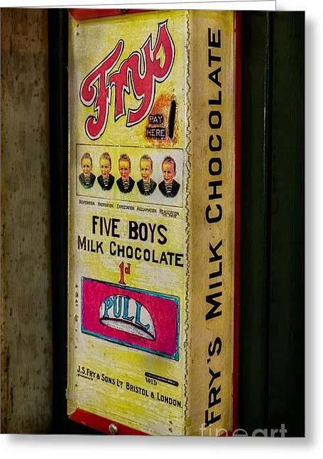 Vintage Chocolate Vending Greeting Card by Adrian Evans