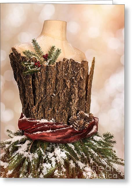 Vintage Christmas Greetings Card Greeting Card by Amanda Elwell