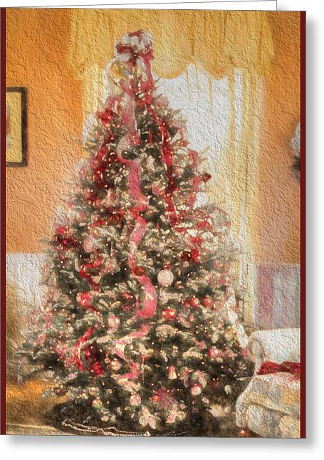 Greeting Card featuring the photograph Vintage Christmas Tree In Classic Crimson Red Trim by Shelley Neff