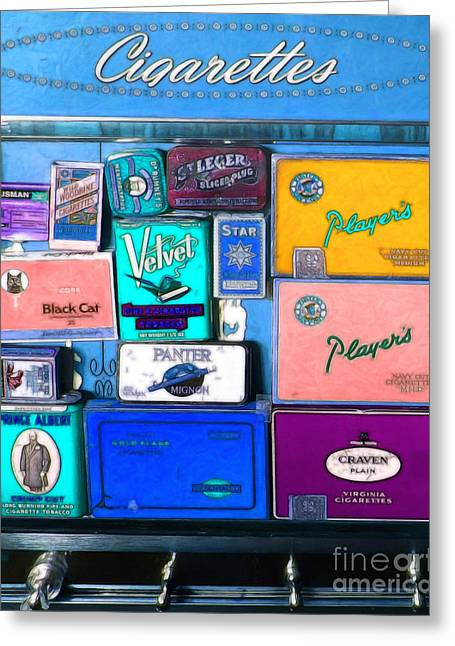 Vintage Cigarette Dispenser 20150830 Vertical M180 Greeting Card by Wingsdomain Art and Photography