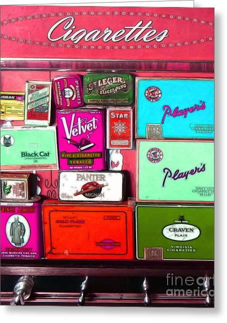 Vintage Cigarette Dispenser 20150830 Vertical M38 Greeting Card by Wingsdomain Art and Photography