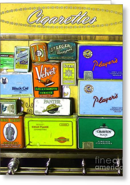 Vintage Cigarette Dispenser 20150830 Vertical P28 Greeting Card by Wingsdomain Art and Photography