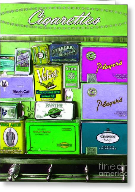 Vintage Cigarette Dispenser 20150830 Vertical P68 Greeting Card by Wingsdomain Art and Photography