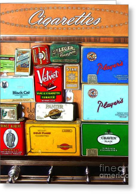 Vintage Cigarette Dispenser 20150830 Vertical Greeting Card by Wingsdomain Art and Photography