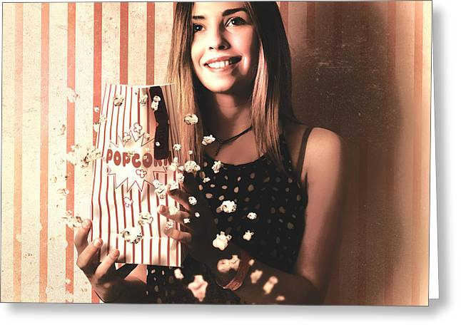 Vintage Cinema Girl With Movie Popcorn. Retro Film Greeting Card by Jorgo Photography - Wall Art Gallery