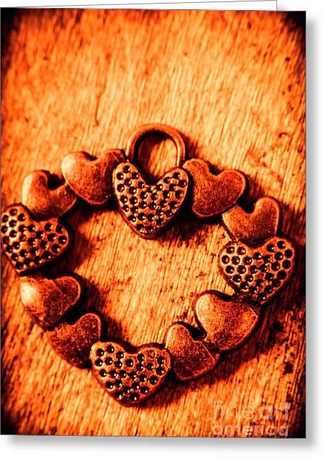 Vintage Circle Of Hearts Greeting Card