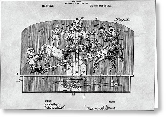 Vintage Circus Toy Patent Greeting Card by Dan Sproul