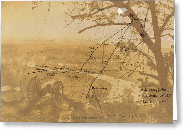 Greeting Card featuring the digital art Vintage Civil War Map Art, The Battle Of Chattanooga At Lookout Mountain by Shelli Fitzpatrick