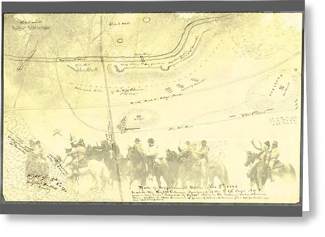 Greeting Card featuring the digital art Vintage Civil War Map Art, The 2nd Battle Of Rappahannock Station  by Shelli Fitzpatrick