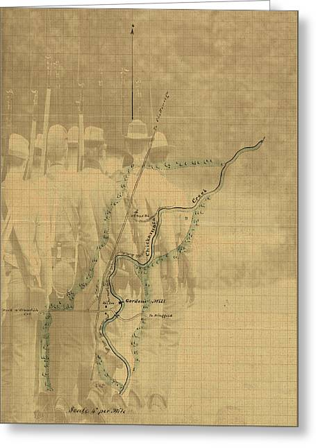 Greeting Card featuring the digital art Vintage Civil War Map Art, The Battle Of Chickamauga by Shelli Fitzpatrick
