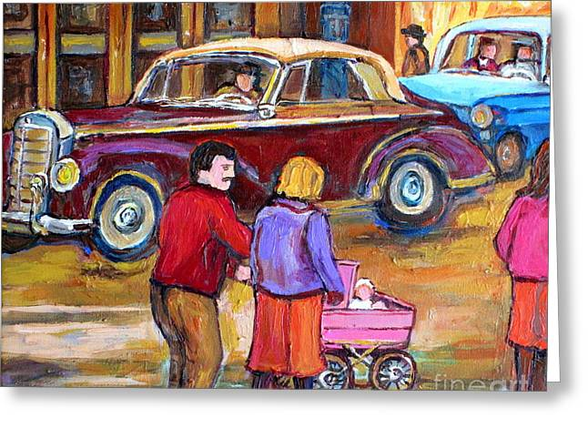 Vintage Classic 1946 Car Painting  Downtown Street Montreal Canadian Painting Carole Spandau         Greeting Card by Carole Spandau