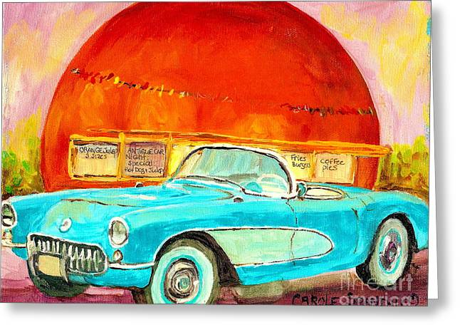Vintage Classic Car Painting Blue Corvette At Orange Julep Montreal Canadian Art Carole Spandau   Greeting Card by Carole Spandau