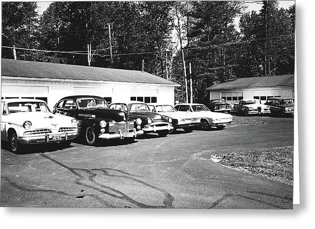 Greeting Card featuring the photograph Vintage Classic Cars In Black And White by Trina Ansel