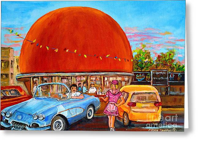 Vintage Classic Cars Painting At The Orange Julep Montreal Diner Canadian Painting Carole Spandau    Greeting Card by Carole Spandau