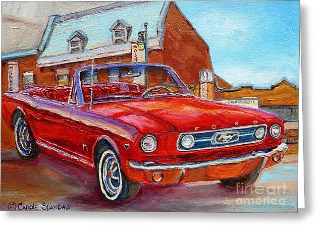 Vintage Classic Cars Paintings Red Mustang At The Diner Montreal Canadian Art Carole Spandau         Greeting Card by Carole Spandau