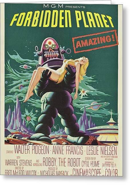 Vintage Classic Movie Posters, Forbidden Planet Greeting Card