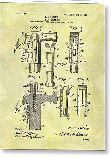 Vintage Claw Hammer Patent Greeting Card by Dan Sproul