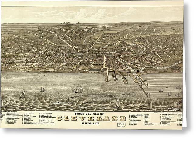 Vintage Cleveland Ohio Map Greeting Card