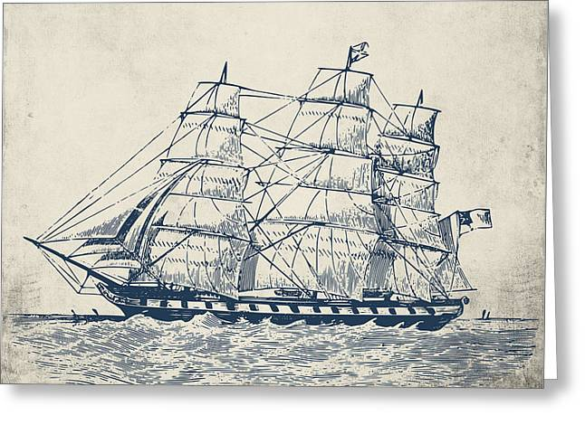 Vintage Clipper Ship V1 Greeting Card by Brandi Fitzgerald