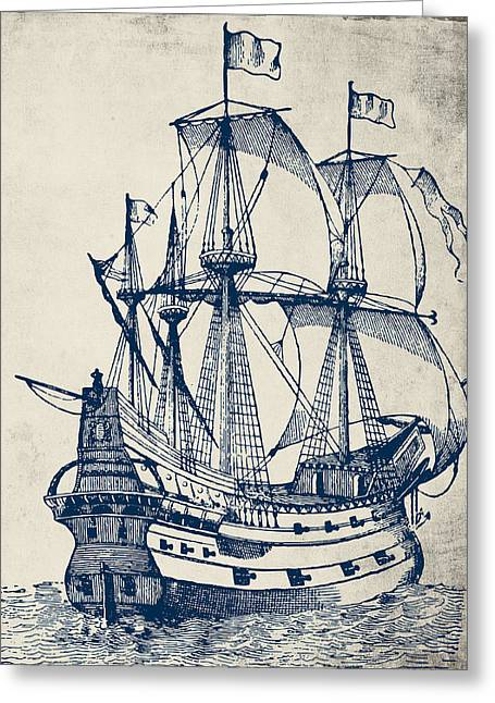 Vintage Clipper Ship V2 Greeting Card by Brandi Fitzgerald