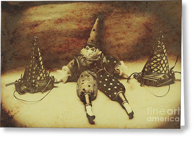 Vintage Clown Doll. Old Parties Greeting Card