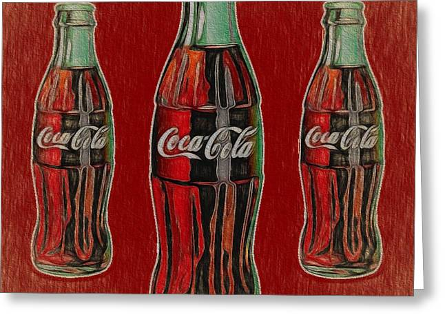 Vintage Coca Cola Bottles Greeting Card by Dan Sproul