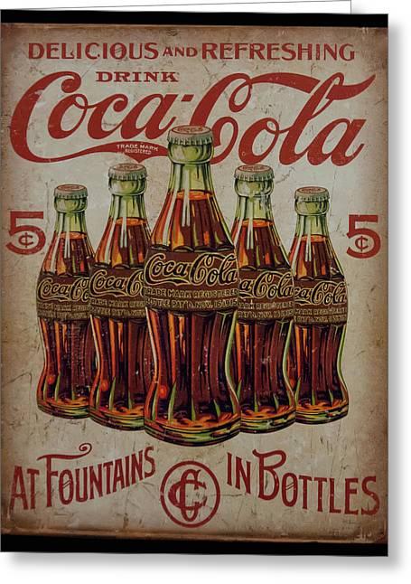 vintage Coca Cola sign Greeting Card