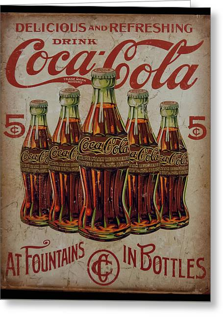 Greeting Card featuring the photograph vintage Coca Cola sign by Chris Flees