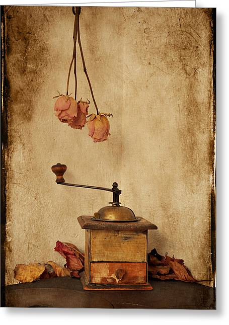Vintage Coffee Grinder Greeting Card by Anki Hoglund