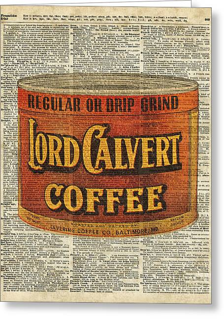 Vintage Coffee On Dictionary Page Greeting Card by Jacob Kuch
