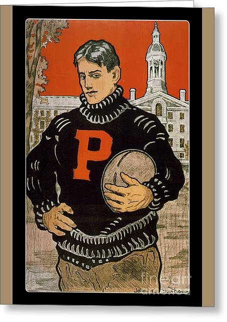 Vintage College Football Princeton Greeting Card by Edward Fielding