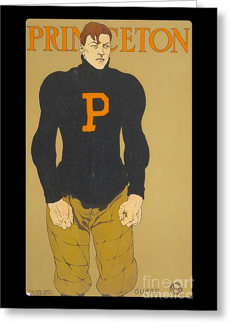 Vintage College Football Princeton Guard Greeting Card by Edward Fielding