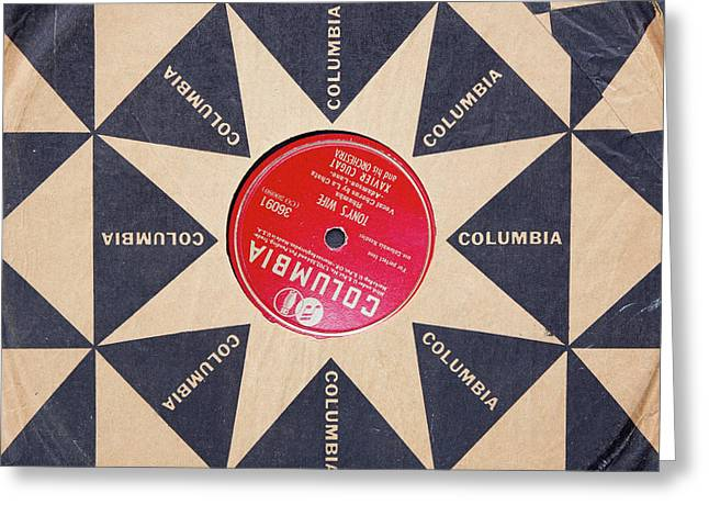 Greeting Card featuring the photograph Vintage Columbia Records Graphic Design by Edward Fielding