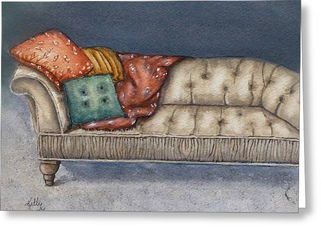 Greeting Card featuring the painting Vintage Comfy Couch by Kelly Mills