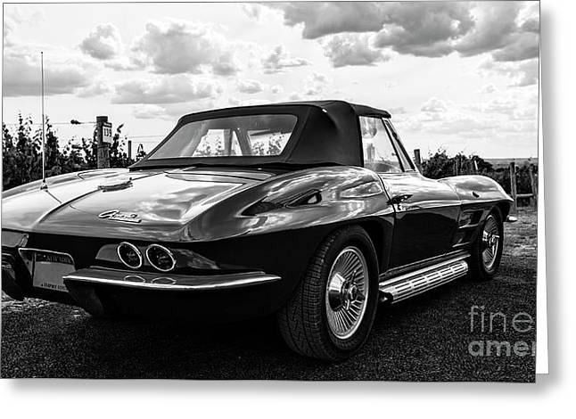 Vintage Corvette Sting Ray Black And White Greeting Card by Edward Fielding