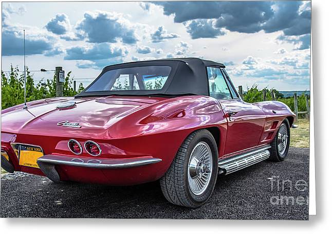 Vintage Corvette Sting Ray In Vineyard Greeting Card by Edward Fielding