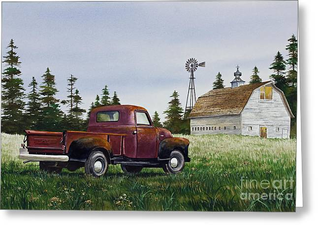 Greeting Card featuring the painting Vintage Country Pickup by James Williamson