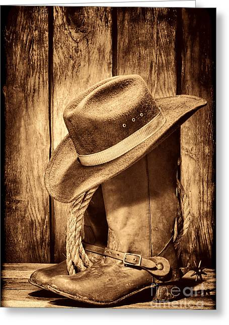 Vintage Cowboy Boots Greeting Card by American West Legend By Olivier Le Queinec