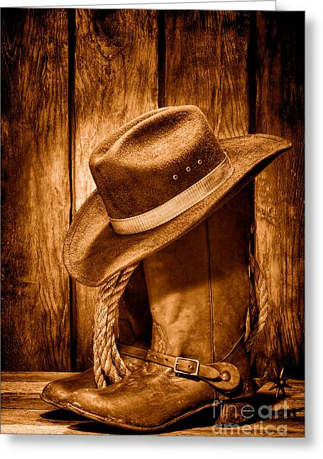 Vintage Cowboy Boots - Sepia Greeting Card by Olivier Le Queinec