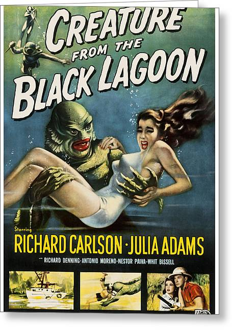 Vintage Creature From The Black Lagoon Poster Greeting Card by Joy McKenzie