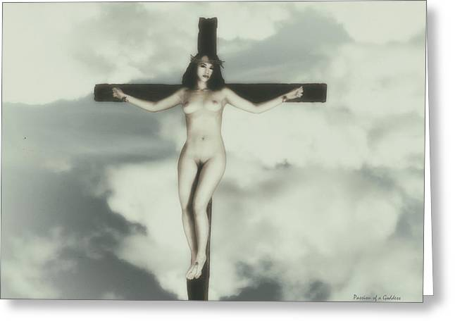 Vintage Crucified Woman Greeting Card by Ramon Martinez