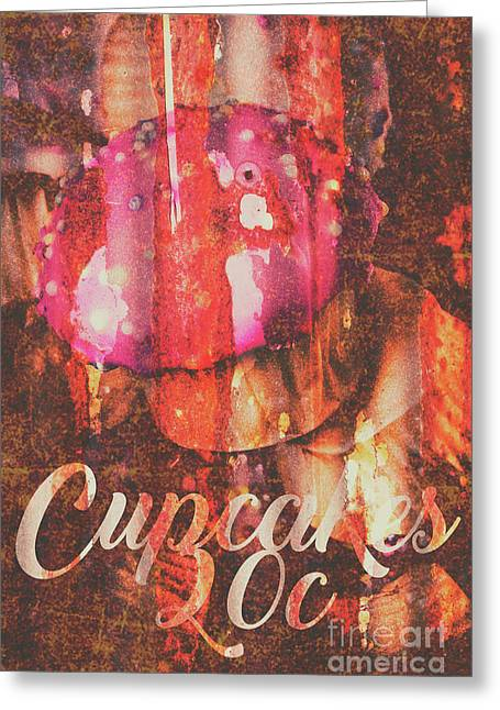Vintage Cupcake Tin Sign Greeting Card by Jorgo Photography - Wall Art Gallery