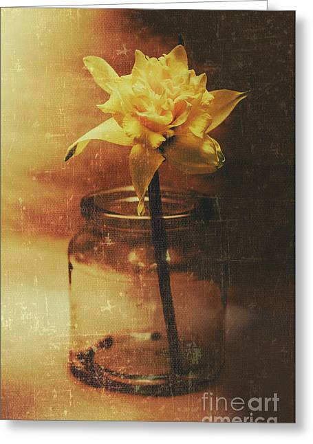 Vintage Daffodil Flower Art Greeting Card