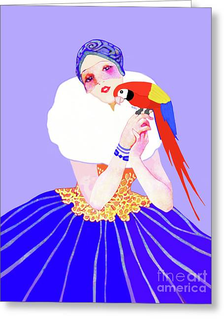 Greeting Card featuring the painting Vintage Dancer With Parrot by Marian Cates