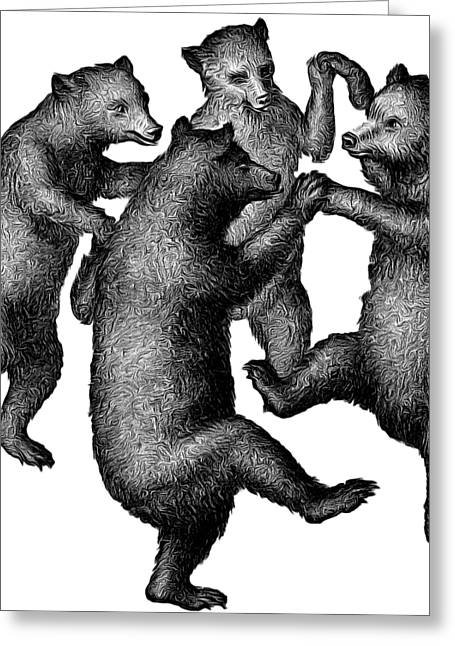 Vintage Dancing Bears Greeting Card