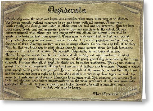 Vintage Desiderata Greeting Card by Teresa Zieba