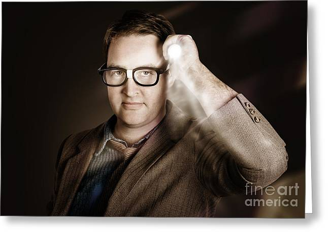 Vintage Detective Businessman Holding Search Light Greeting Card